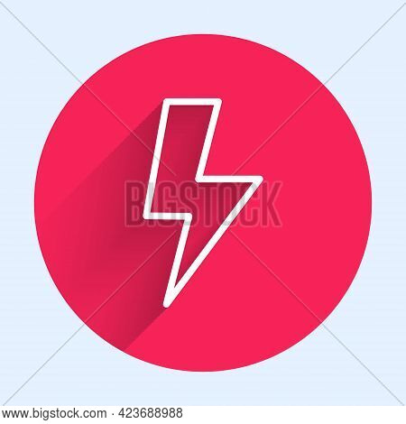 White Line Lightning Bolt Icon Isolated With Long Shadow. Flash Sign. Charge Flash Icon. Thunder Bol