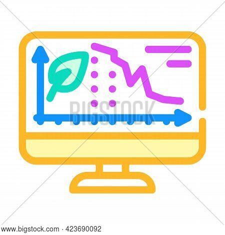Decrease Rate Chia Cryptocurrency Online Trade Market Color Icon Vector. Decrease Rate Chia Cryptocu