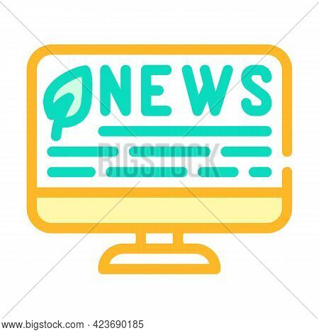 News Internet Chia Cryptocurrency Color Icon Vector. News Internet Chia Cryptocurrency Sign. Isolate