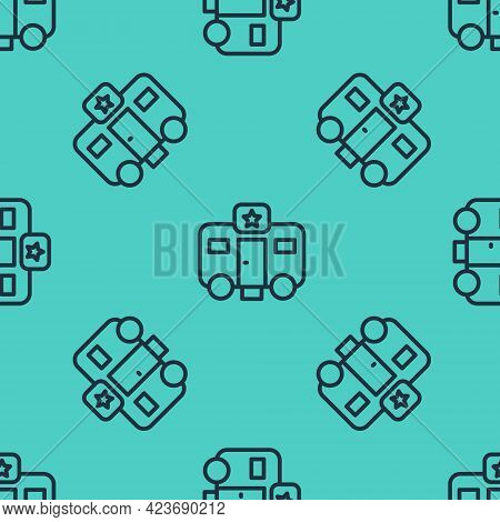 Black Line Machine Trailer Dressing Room For Actors Icon Isolated Seamless Pattern On Green Backgrou