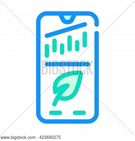 Phone Application For Monitoring Chia Cryptocurrency Rate Color Icon Vector. Phone Application For M