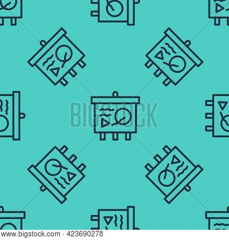 Black Line Scenario On Chalkboard Icon Isolated Seamless Pattern On Green Background. Script Reading