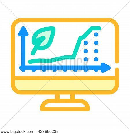 Increase Rate Chia Cryptocurrency Online Trade Market Color Icon Vector. Increase Rate Chia Cryptocu