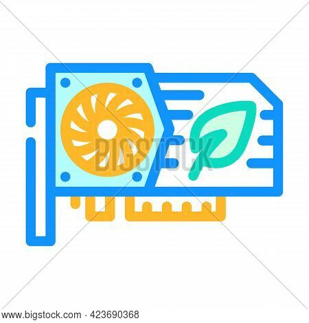 Video Card For Mining Chia Cryptocurrency Color Icon Vector. Video Card For Mining Chia Cryptocurren