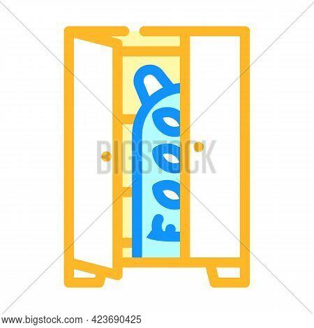 Monster In Wardrobe Fear Color Icon Vector. Monster In Wardrobe Fear Sign. Isolated Symbol Illustrat