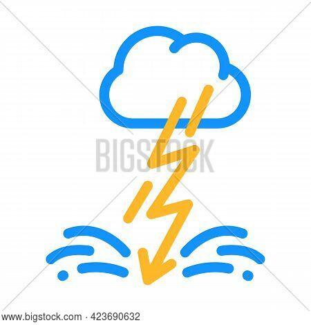Lightning Fear Color Icon Vector. Lightning Fear Sign. Isolated Symbol Illustration