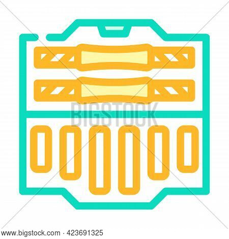 Suitcase With Prefabricated Dumbbells Gym Equipment Color Icon Vector. Suitcase With Prefabricated D