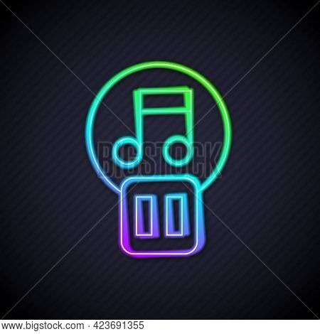 Glowing Neon Line Pause Button Icon Isolated On Black Background. Vector