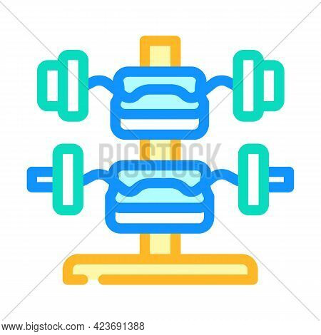 W-barbell Gym Equipment Color Icon Vector. W-barbell Gym Equipment Sign. Isolated Symbol Illustratio
