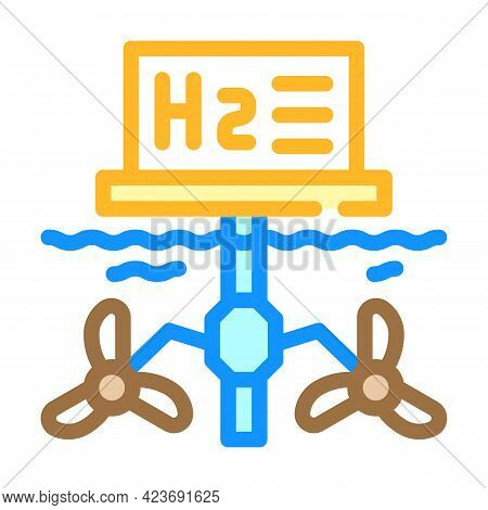 Floatage Station For Hydrogen Production Color Icon Vector. Floatage Station For Hydrogen Production