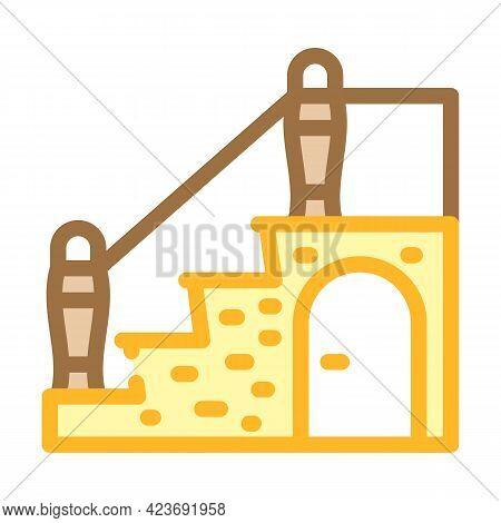 Staircase With Wardrobe Color Icon Vector. Staircase With Wardrobe Sign. Isolated Symbol Illustratio