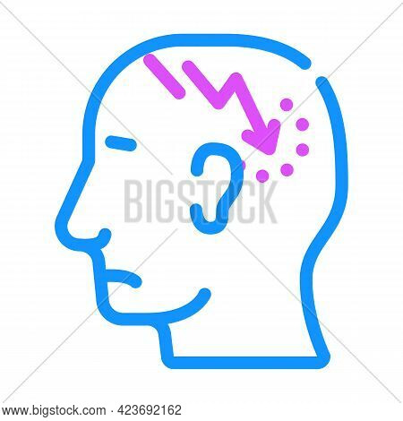 Lightning Neurosis Or Headache Pain Color Icon Vector. Lightning Neurosis Or Headache Pain Sign. Iso