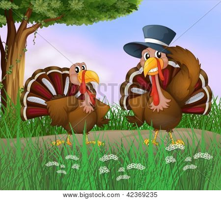 Illustration of two turkeys along the road