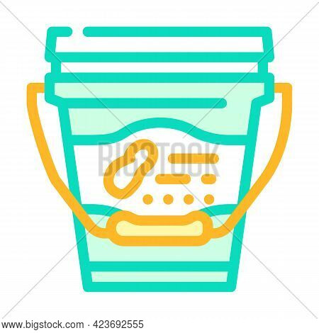 Bucket With Peanut Butter Color Icon Vector. Bucket With Peanut Butter Sign. Isolated Symbol Illustr