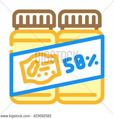 Sale Discount Peanut Butter Bottles Color Icon Vector. Sale Discount Peanut Butter Bottles Sign. Iso