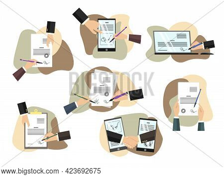 People Signing Paper And Digital Contract Vector Flat Illustration. Set Scenes With Business Partner