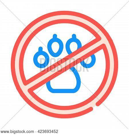 Non Animals In Canteen Mark Color Icon Vector. Non Animals In Canteen Mark Sign. Isolated Symbol Ill