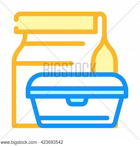 Lunch Box Canteen Color Icon Vector. Lunch Box Canteen Sign. Isolated Symbol Illustration