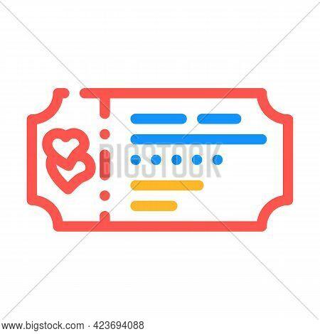 Honeymoon Ticket Travel Color Icon Vector. Honeymoon Ticket Travel Sign. Isolated Symbol Illustratio