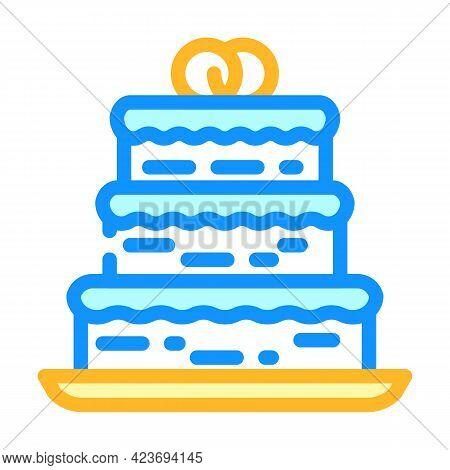 Cake Wedding Dessert Color Icon Vector. Cake Wedding Dessert Sign. Isolated Symbol Illustration