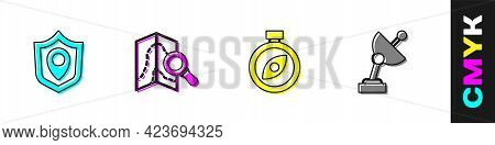 Set Location Shield, Search Location, Compass And Radar Icon. Vector