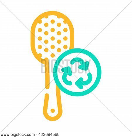 Hairbrush Zero Waste Accessory Color Icon Vector. Hairbrush Zero Waste Accessory Sign. Isolated Symb