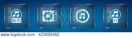 Set Music Note, Tone, Vinyl Player With Vinyl Disk, And Pause Button. Square Glass Panels. Vector