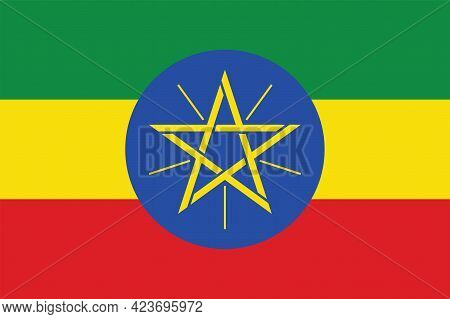 National Ethiopia Flag, Official Colors And Proportion Correctly. National Ethiopia Flag. Vector Ill
