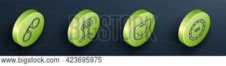 Set Isometric Handcuffs, Casino Poker Trophy Cup, Poker Table And Casino Chips Icon. Vector