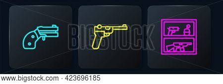 Set Line Small Gun Revolver, Hunting Shop Weapon And Mauser. Black Square Button. Vector