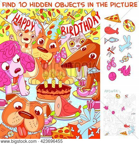 Dog Birthday. Find 10 Hidden Objects In The Picture. Puzzle Hidden Items. Funny Cartoon Character