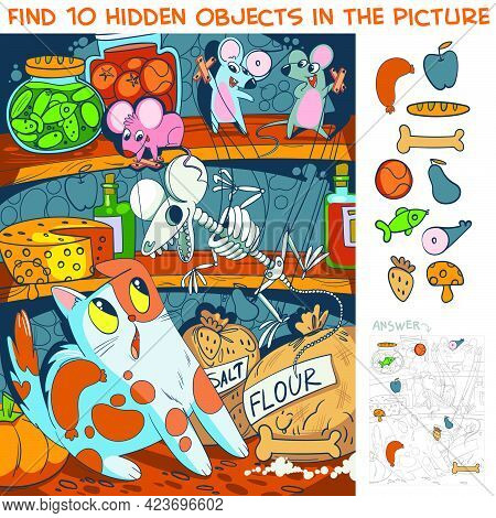 Mice Scare A Cat With A Toy Skeleton. Find 10 Hidden Objects In The Picture. Puzzle Hidden Items. Fu