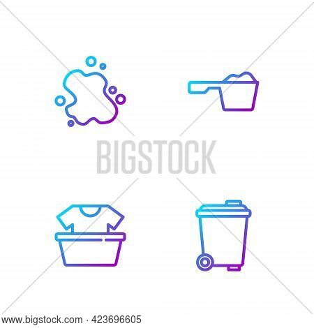 Set Line Trash Can, Basin With Shirt, Water Spill And Washing Powder. Gradient Color Icons. Vector