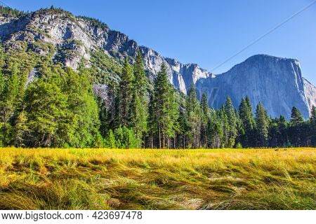 Majestic mountains and  rock-monolith El Capitan surround the Yosemite Valley. Yosemite Park is located on the slopes of the Sierra Nevada. Western Cordillera