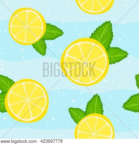 Seamless Summer Pattern From Lemon Slices And Mint Leaves. Refreshing Juicy Background With Mojito O