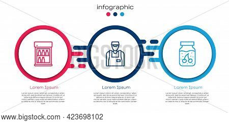 Set Line Commercial Refrigerator, Seller And Jam Jar. Business Infographic Template. Vector