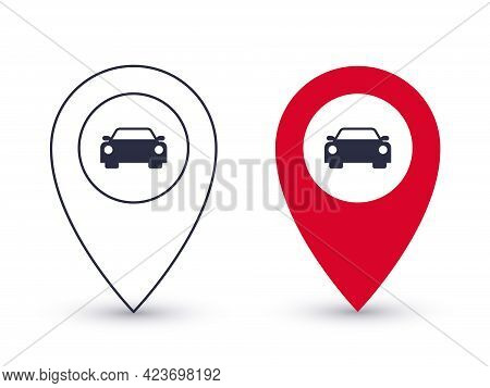 Pointer Icons. Parking Point Or Place For A Car. Geolocation Pointers Concept. Vector Illustration