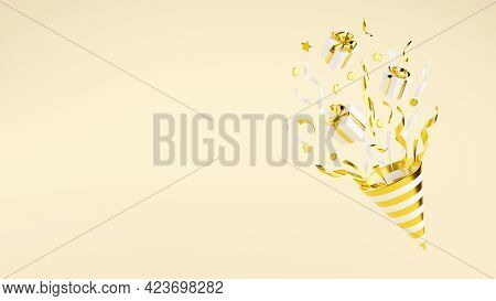 Golden Party Popper With Flying Confetti And Gift Boxes 3d Render Illustration.