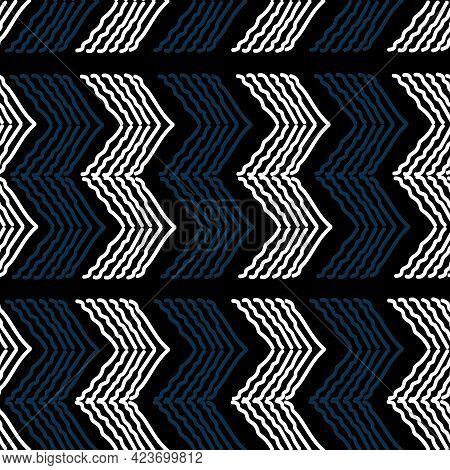 Black Blue And White Handmade Chevron Pattern