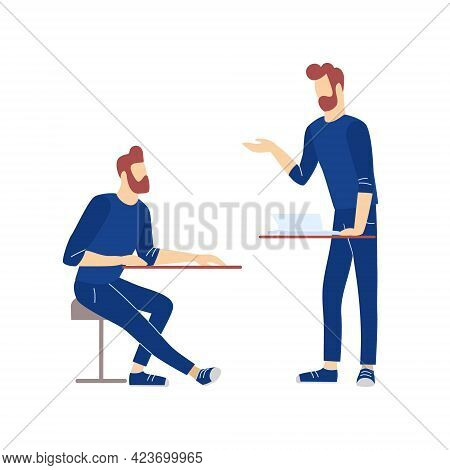 Two Men Perform Presentation And Listening To Business Training. Teaching And Learning Of Adult Conc