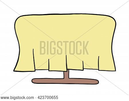 Cartoon Vector Illustration Of Dining Table And Cover. Colored And Black Outlines.