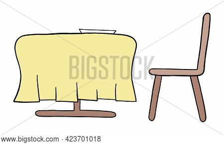 Cartoon Vector Illustration Of Dining Table And Chair. Colored And Black Outlines.