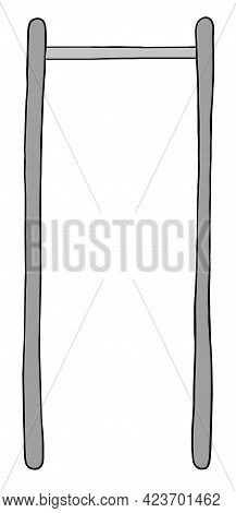 Cartoon Vector Illustration Of Chin, Pull Up Bar. Colored And Black Outlines.
