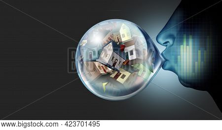 Housing Market Inflation And Real Estate Bubble And Residential Speculation Concept Or Overvalued Ho