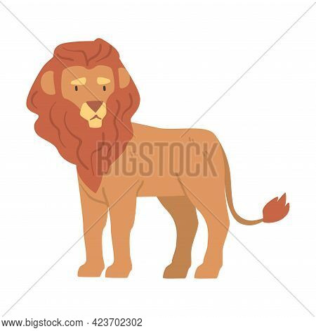 Cute Lion African Animal, Wild Predator Jungle Animal Cartoon Vector Illustration