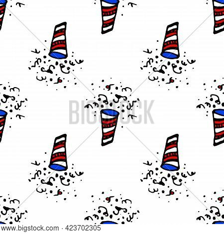 Red Doodle Firecracker Confetti Firecracker On Black Background. Holiday, Birthday.vector Seamless P