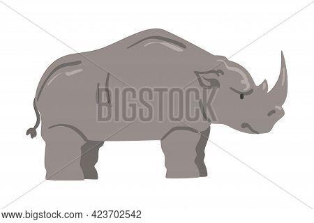 Cute Rhinoceros African Animal, Wild Herbivore Savannah Animal Cartoon Vector Illustration