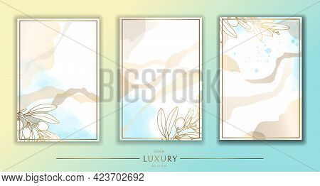 Gold Frame. Set Of Gilded Olive Leaves And Branches. Blue Watercolor Stains. Modern Minimalist Desig