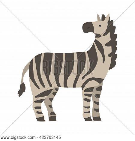 Cute Zebra African Animal, Wild Herbivore Jungle Animal Cartoon Vector Illustration
