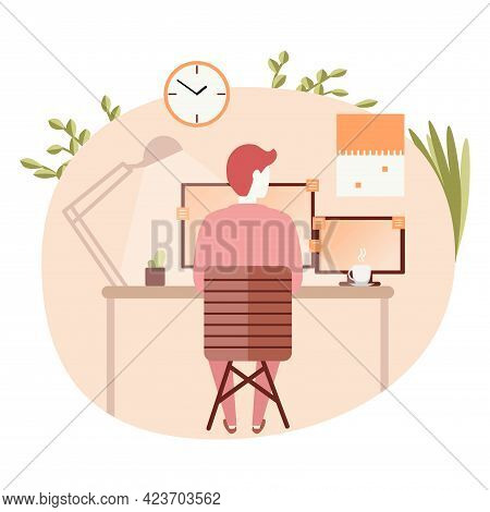 Business Man Sitting Desk Office Working Place Laptop Back Rear View Vector Illustration
